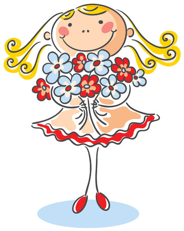 congratulating: Blond girl with a bouquet of flowers
