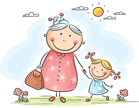 grandmother grandchild: Little girl and her granny on a walk Illustration