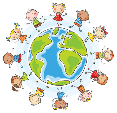 Little children of different nationalities round the globe 向量圖像