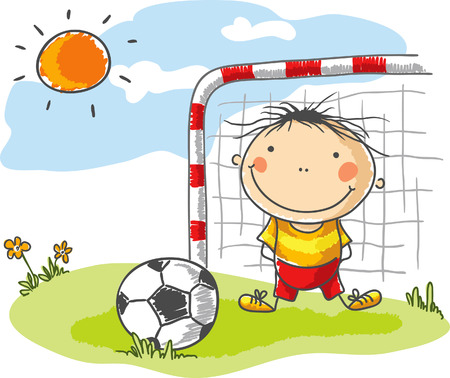 goalkeeper: Little boy playing football as a goalkeeper