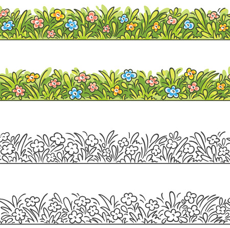grass border: Seamless border of cartoon grass and flowers. To make it seamless please join the two parts. Illustration