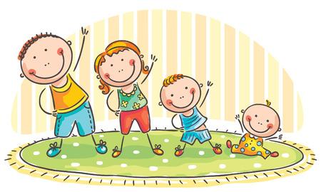 gymnastique: Famille avec deux enfants qui font des exercices du matin