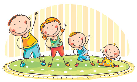 family with two children: Family with two children doing morning exercises Illustration