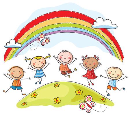 虹の下に丘の上に喜びでジャンプ幸せな子供