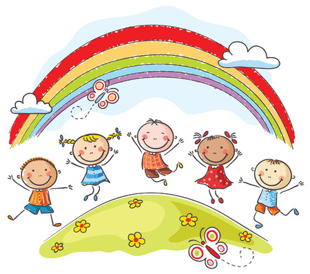 Happy kids jumping with joy on a hill underneath a rainbow