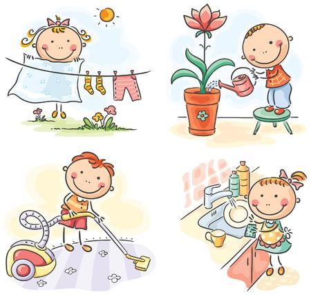 Aider les enfants à leurs parents dans les tâches ménagères Vecteurs