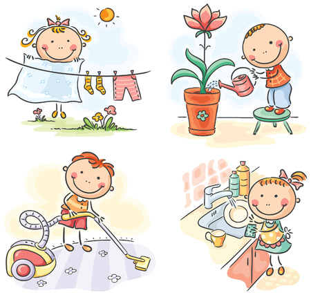 Niños ayudando: Los niños ayudan a sus padres en las tareas domésticas