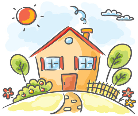 Cartoon-Haus auf einem Hügel
