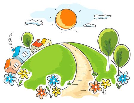 小さな家があり、木々 や花と漫画の風景