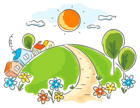 Cartoon landscape with little houses, trees and flowers Imagens - 31896430