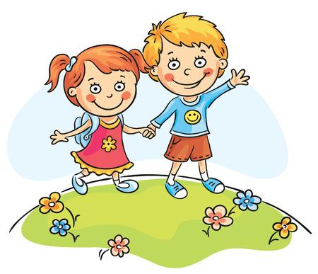 Happy cartoons kids walking outdoors Vector