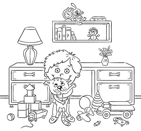 playroom: Little boy in his playroom holding his cat