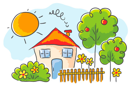 Child`s drawing of a house with a garden Vector