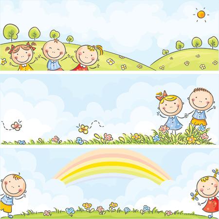 Horizontal happy cartoons kids banners Иллюстрация