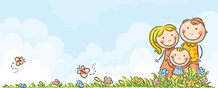 Horizontal happy cartoon family banner Illustration