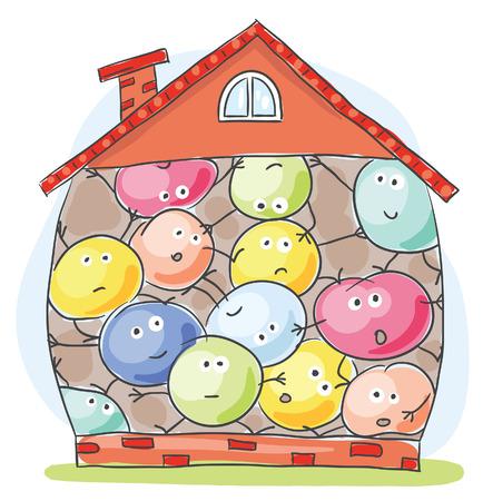 Cartoon house overcrowded by unhappy inhabitants 일러스트