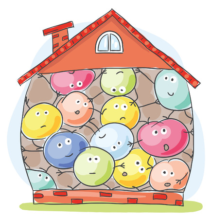 Cartoon house overcrowded by unhappy inhabitants Stock Illustratie