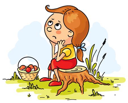 sad little girl: Little girl lost in the woods