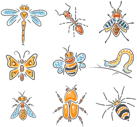 caterpillar cartoon: Set of different hand-drawn sketchy insects, no gradients Illustration