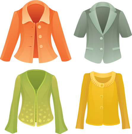 feminity: Four colorful vector female jackets