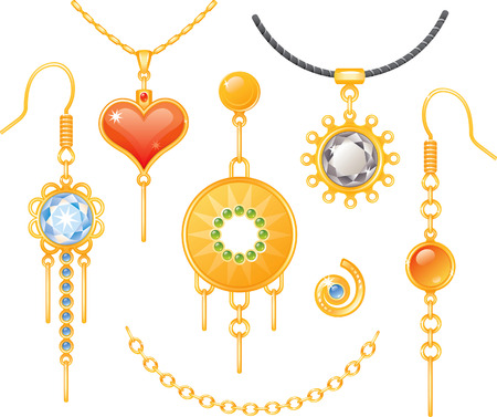 earrings: Set of earrings and necklaces, colorful