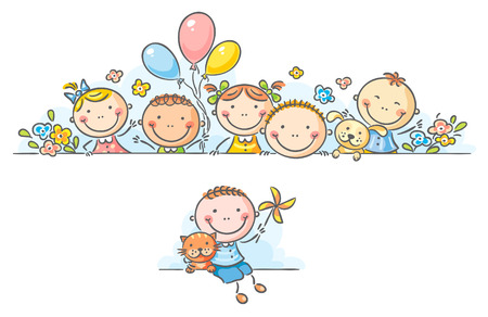 Cartoon happy kids borderframe Vector