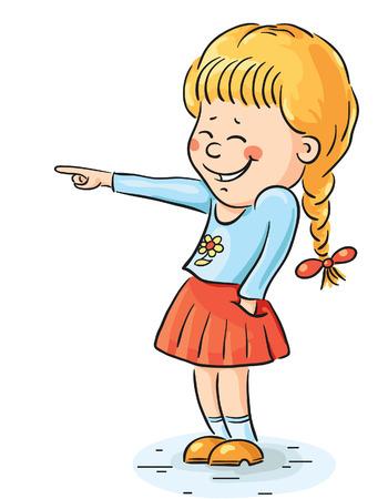 Carton lachend meisje wijst naar iets Stock Illustratie
