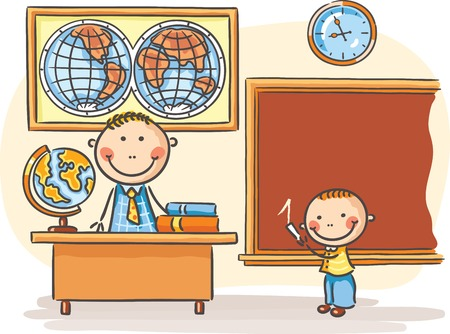 A teacher and a pupil at the lesson in the classroom Vector