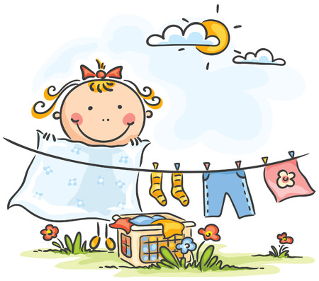Cartoon ittle girl helping her mother with the laundry