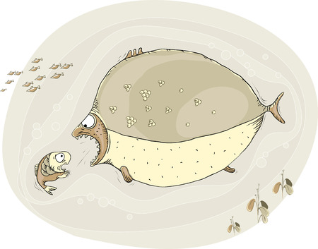 which one: Cartoon big fish wants to catch a small one, which is in great fear Illustration