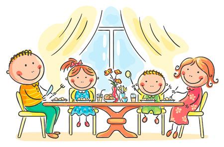 family together: Famiglia del fumetto che hanno pasto insieme Vettoriali