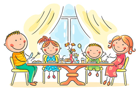 niños desayunando: Familia de la historieta tener comida junto
