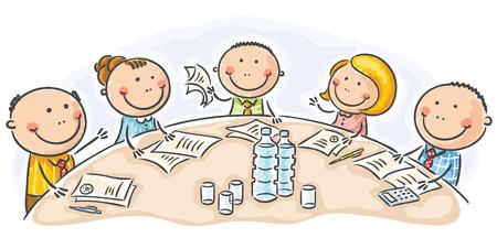Cartoon schůze nebo konference kolem stolu