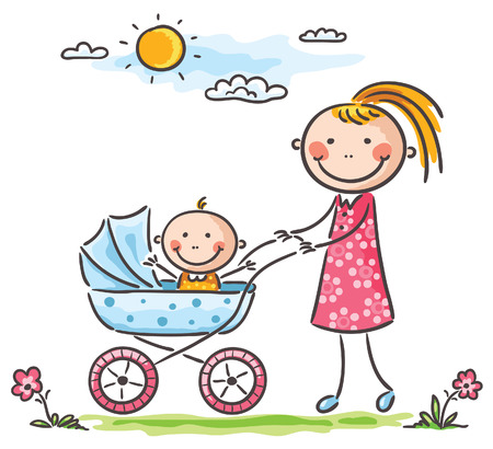sketch child: Happy mother and baby on a walk Illustration