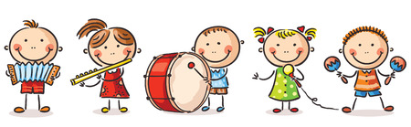 Happy children playing different musical instruments