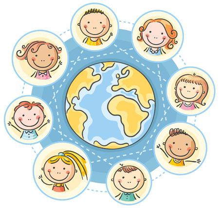 planeta tierra feliz: Mundial de la comunicación con los niños de dibujos animados Vectores