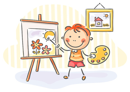 child drawing: Little boy painting a picture