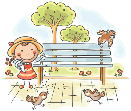 park bench: Happy girl feeding sparrows in the park