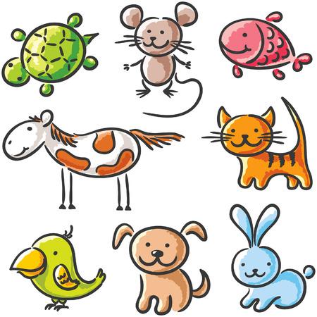 Set van schetsmatig cartoon huisdieren