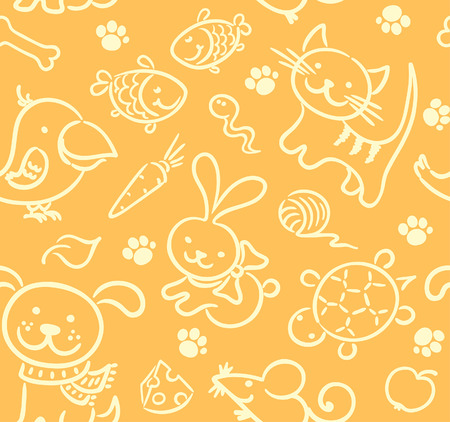 Seamless pattern with pets and their food Vector