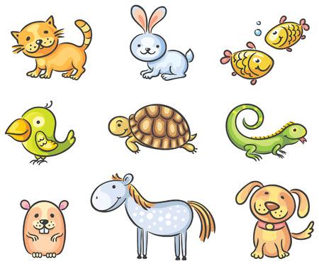 tortuga caricatura: Conjunto de animales de compañía de dibujos animados
