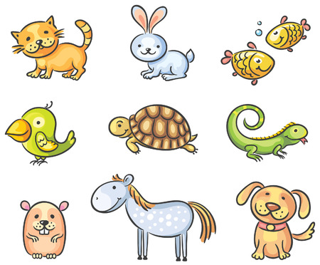 cat fish: Set of cartoon pet animals