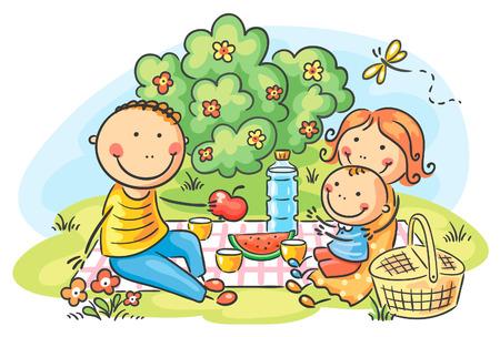 happy family outdoor: Cartoon family having picnic outdoors