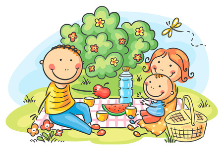 Cartoon family having picnic outdoors
