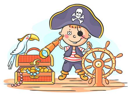 ship steering wheel: A little boy playing pirate