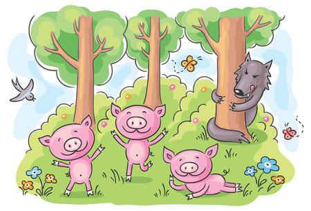 three little pigs: Three little pigs fairy tale, no gradients