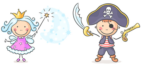 costumes: Cartoon pirate and fairy costumes