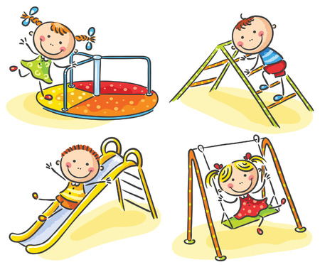 children playground: Happy cartoon kids on playground