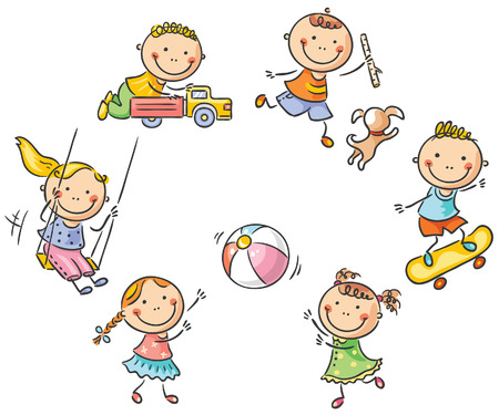 Happy cartoon kids playing outdoors Vectores