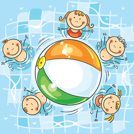 小さな子供にはスイミング プールがボールをプレー